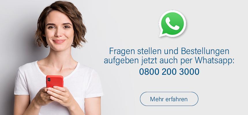 Jetzt auch per Messenger - schreiben Sie uns auf Whatsapp